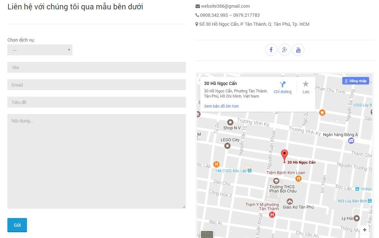 Thông tin liên hệ của thiết kế website bán hàng