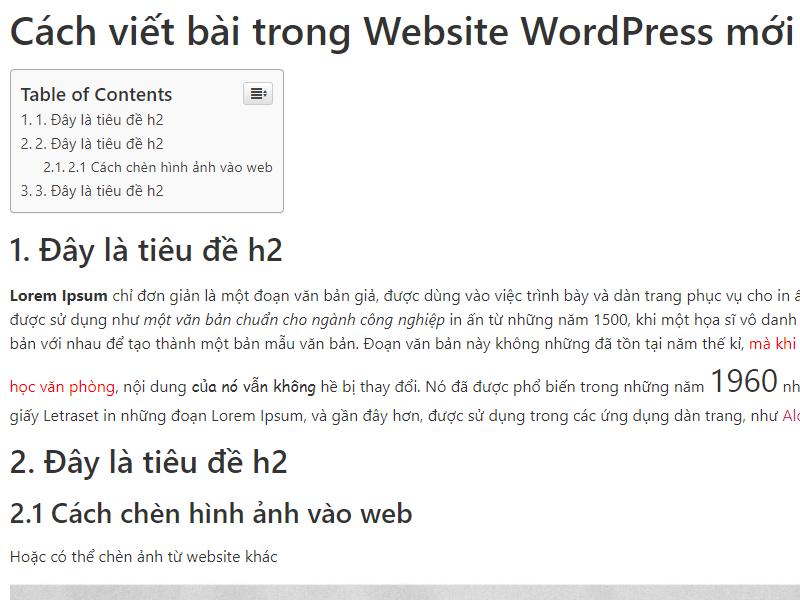 Hướng dẫn tạo mục lục cho bài viết cho Web WordPress – Table Of Contents